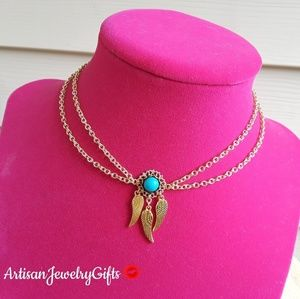 Layered Dreamcatcher Choker Turquoise Gem Necklace